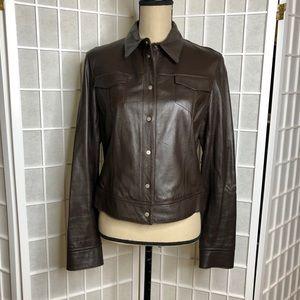 ANNE KLEINE Genuine Brown Leather Jacket Coat